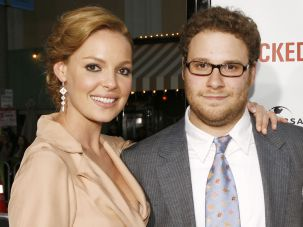 "Katherine Heigl and Seth Rogen at the premiere of ""Knocked Up"" on May 21, 2007 in Los Angeles, California."