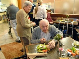 Changing With the Times: Jack Goldfarb, 87, eats dinner in the Terrace Dining Room at Martins Run in Broomall, Pa. Soon cheeseburgers will be available in the Jewish facility.