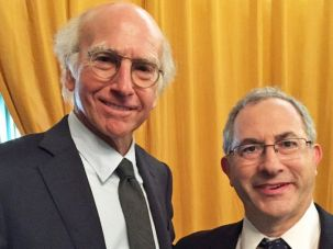 "Cantor Kenny Ellis posing with ""Curb Your Enthusiasm"" creator Larry David."