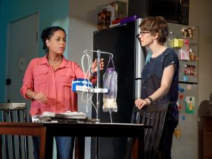 "Liza Colón-Zayas and Carrie Coon in ""Mary Jane."""