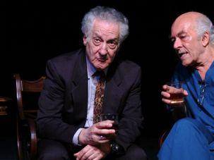 Odd Couple: Mark Margolis (right) as Bernard Madoff, talking with Howard Green, who plays an Elie Wiesel-like character named Solomon Galkin.