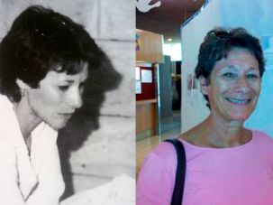 Maggie Bar-Tura around the time she moved to Israel (left) and today.
