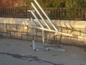 The vandalized menorah near Gracie Mansion.