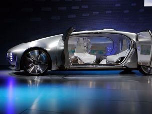 A Mercedes-Benz autonomous driving automobile prototype on display.