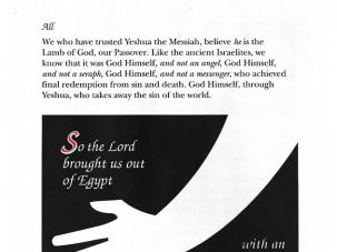 Arm Outstretched: This page reads, ?We who have trusted Yeshua the Messiah ? believe he is our Passover.?