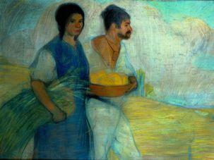 Peasants A painting by David Alfaro Siqueiros, circa 1913.