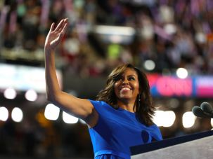 Michelle Obama acknowledges the crowd before delivering remarks on the first day of the Democratic National Convention at the Wells Fargo Center, July 25, 2016 in Philadelphia, Pennsylvania.