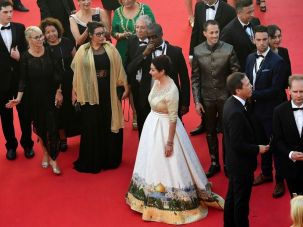 Israeli Culture Minister Miri Regev wore a dressed containing an image of Jerusalem at the 2017 Cannes Film Festival.