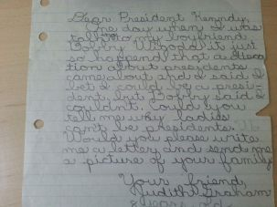 A draft of the letter my mother wrote to President Kennedy.