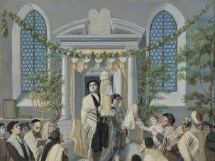 """Shavuot (Pentecost) (Das Wochen- oder Pfingst-Fest)"" a 1879 wood print by the German Jewish artist Moritz Daniel Oppenheim."