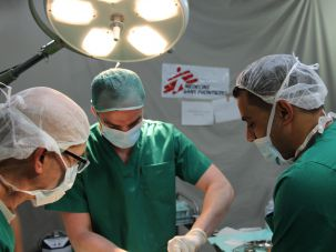 Doctors Without Borders: MSF medical staff work inside a tent clinic in the city of Khan Younis in the Gaza Strip, April 5, 2015.