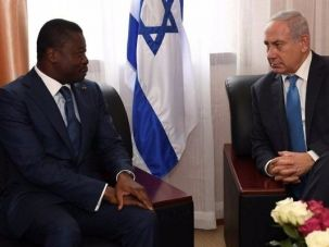 Israeli Prime Minister Benjamin Netanyahu (R) meets with President Faure Gnassingbé of Togo during the ECOWAS summit in Monrovia, Liberia, June 4, 2017.