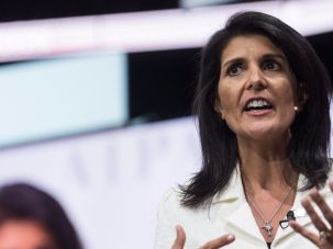 """New Sheriff In Town"": U.S. Ambassador to the United Nations Nikki Haley addresses the American Israel Public Affairs Committee (AIPAC) policy conference in Washington, DC, on March 27, 2017."