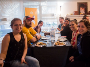 Jewish students attend a Chabad event at the University of Oregon.
