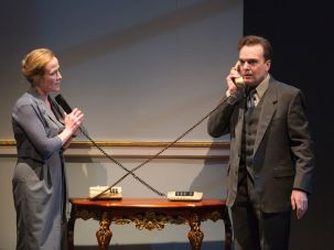 "Jennifer Ehle and Jefferson Mays in ""Oslo."""
