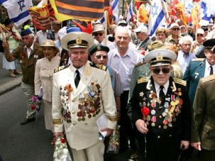 Abroad at Home: Israeli veterans of the Red Army celebrate in 2007 the anniversary of the Allied victory over Nazi Germany in Israel, where Russian Jewish immigrants have transformed the national landscape.