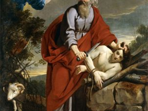 Painting of Abraham preparing to sacrifice Isaac.