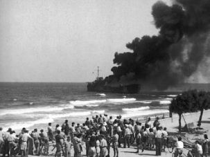 Seaside Inferno: IDF forces opened fire on the ship before it could land.