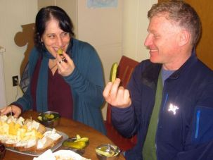 Sustainable: Karen Adelman and Peter Levitt, co-owners of Saul?s Deli, nosh on locally sourced pickles.