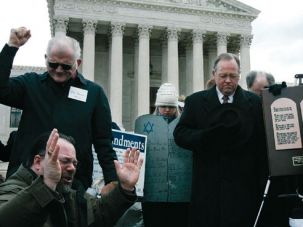 Supreme Commandments: In 2005, Christian groups prayed in Washington, D.C., while the Supreme Court heard two cases on whether Ten Commandments monuments should be displayed on government properties.