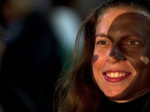 Hate?s a Crime: A demonstrator in Tel Aviv paints her face black and white to protest racism.