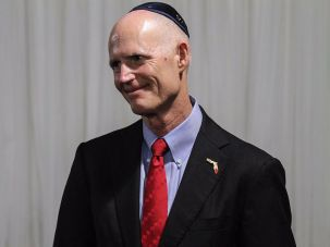 Florida Gov. Rick Scott visits the Chabad of South Broward in Hallandale, Florida.