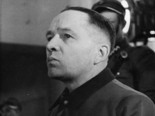 Rudolf Hoess during his trial in Poland, 1947.