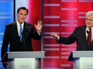 ?Invented? Debate: Mitt Romney and GOP frontrunner Newt Gingrich sparred over Gingrich?s claim that the Palestinians are an ?invented? people.