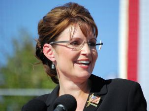 You Betcha: Sarah Palin speaks at a rally in Elon, N.C. during the 2008 presidential campaign.