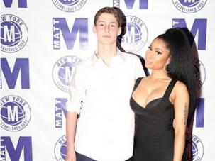 Nicki Minaj with the bar mitzvah boy.