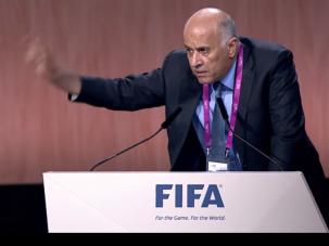 Palestinian Football Association President Jibril Rajoub addresses the FIFA Congress.