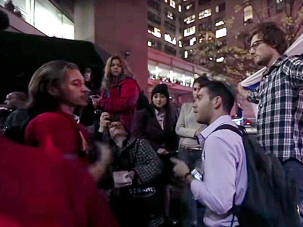 Pro-Israel student confront a November 12 protest against tuition hikes at Hunter College that included condemnations of Zionism.