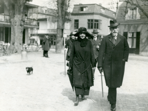 Not Camera Shy:  Former Kaiser Wilhelm II faces photographers on a walk with his wife during Easter at Huis Dorn, his residence in exile following his abdication after World War I. Wilhelm rarely traveled beyond the allowed 15-mile radius around the estate in the Netherlands.