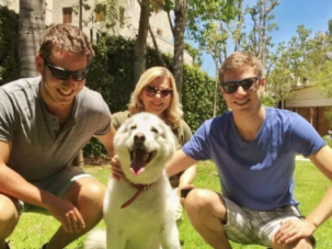 Yair Netanyahu (right) with family members and dog Kaya.