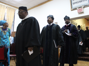 Members of the Israelite Board during a graduation program of the rabbinical academy.