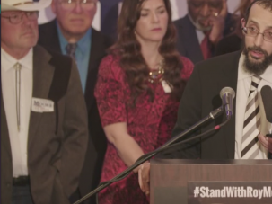 Rabbi Noson Leiter of Torah Jews for Decency spoke at a rally for Alabama senate candidate Roy Moore.