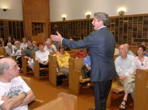 Seeking The Jewish Vote: Joe Sestak speaks at a synagogue forum on May 2 at Keneseth Israel Reform Synagogue in Elkins Park, a suburb of Philadelphia.