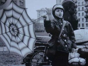 Rainy Day in Moscow: The author Maxim D. Shrayer circa 1976 in Moscow at Kurchatov Square.