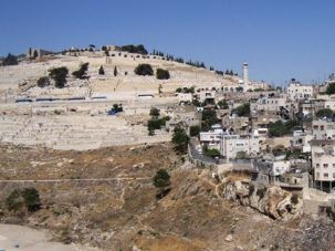 Ancient View: The Palestinian neighborhood of Silwan (right) sits next to the Mount of Olives.