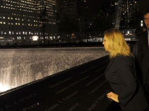 Paying Respects: Israeli Prime Minister Benjamin Netanyahu (right) and his wife Sara visit the memorial at Ground Zero in New York.