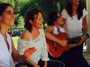 Songs of peace: The crowd breaks into a rendition of Od Yavo Shalom Aleinu by Moshe Ben Ari at a gathering in Kibbutz Hazorea.