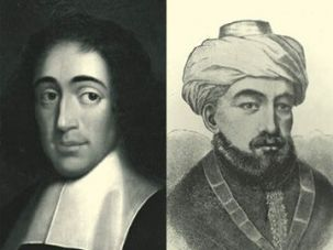 A Fight to the Life: Although they agree on God, Spinoza (left) and Maimonides (right) differ on most points of moment.