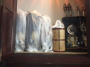 St. Thomas synagogue torah scrolls wrapped in plastic in preparation for hurricane Irma