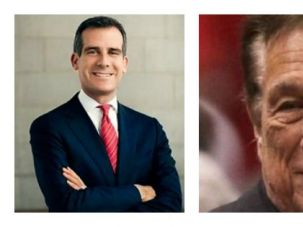 Jew on Jew: Los Angeles Mayor Eric Garcetti (left) and Los Angeles Clippers owner Donald Sterling (right)
