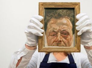 Unmasked Man: Lucian Freud?s ?Self-Portrait With a Black Eye? is displayed at Sotheby?s auction house.