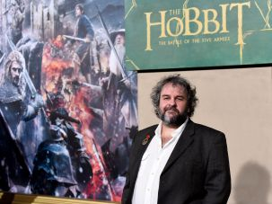 "Director Peter Jackson at the Hollywood premier of ""The Hobbit: The Battle of the Five Armies."""