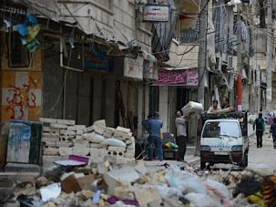Broken City: The streets of the northern city of Aleppo have been decimated by battles between government troops and rebel fighters.