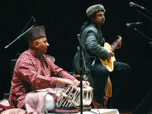 Common Chords: Salman Ahmad (right), a Pakistani rock star, plays with Indian tabla master Samir Chatterjee at Queens College.
