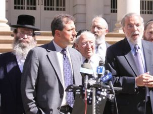 Not Drinking The Tea: Jewish leaders, including Dov Hikind (center), spoke out on September 20 against comments made by New York gubernatorial candidate Carl Paladino, who had defended another?s view that State Assembly Speaker Sheldon Silver was a ?Hitler? and an ?Antichrist.?