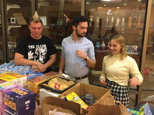 Members of Temple Sinai in Las Vegas collect food and water for families of shooting victims still in the hospital